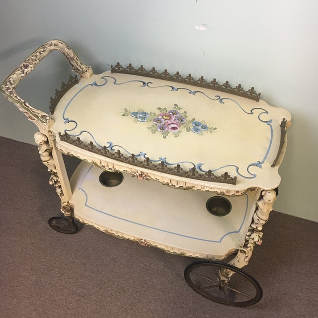 Antique Hand Painted Wooden Tea Cart