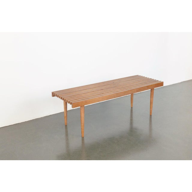 Modern Nelson Style Slat Bench For Sale In Seattle - Image 6 of 7