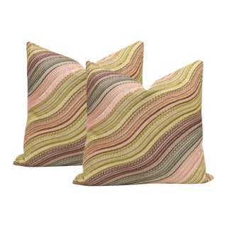 "20"" Kelly Wearstler Water Stripe Embroidered Raisin and Oatmeal Pillows - a Pair For Sale"