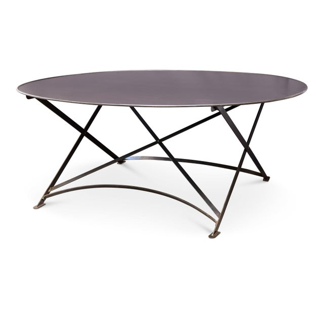 Gray Oval Hand-Forged Steel Table For Sale - Image 8 of 8