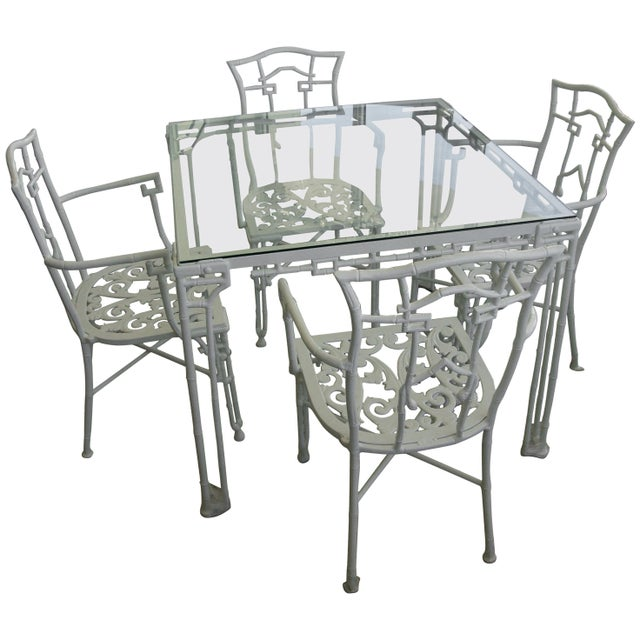 Faux Bamboo Cast Aluminum White Table and Chairs Five-Piece Patio Set For Sale - Image 10 of 10