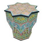 Moroccan Lg Ceuta 3 Painted and Carved Star Table, Multi-Color