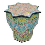 Image of Moroccan Lg Ceuta 3 Painted and Carved Star Table, Multi-Color For Sale