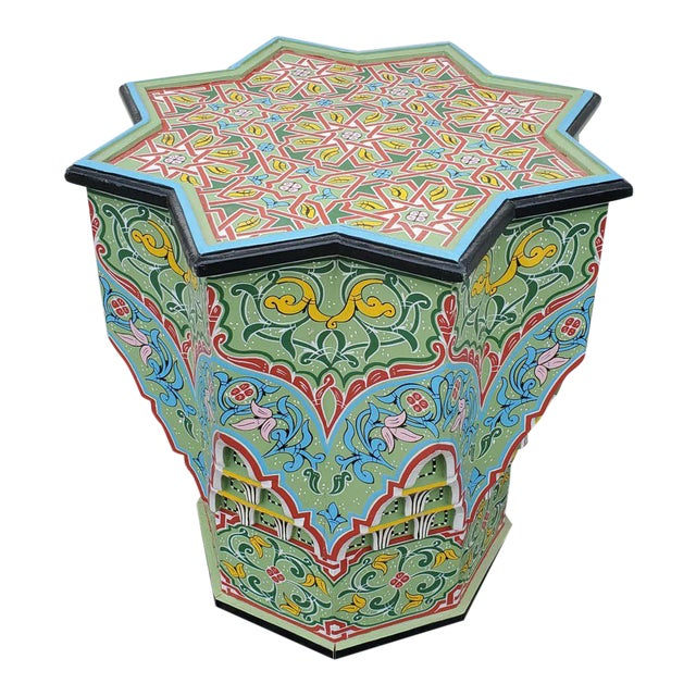 Moroccan Lg Ceuta 3 Painted and Carved Star Table, Multi-Color For Sale