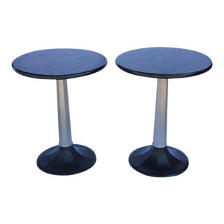 1930s Vintage Industrial Round Bistro Tables - a Pair For Sale