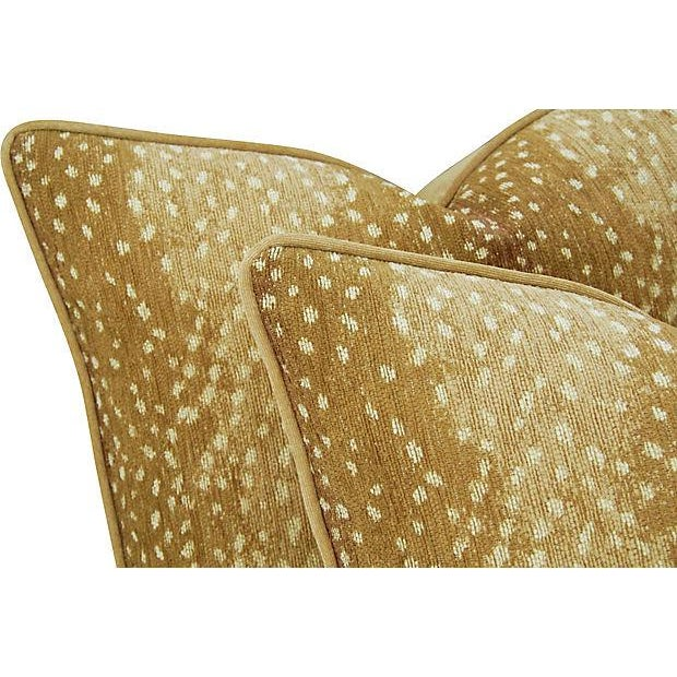 "Wild Animal Antelope Deer Fawn Velvet Feather/Down Pillows 21"" X 18"" - Pair For Sale In Los Angeles - Image 6 of 6"