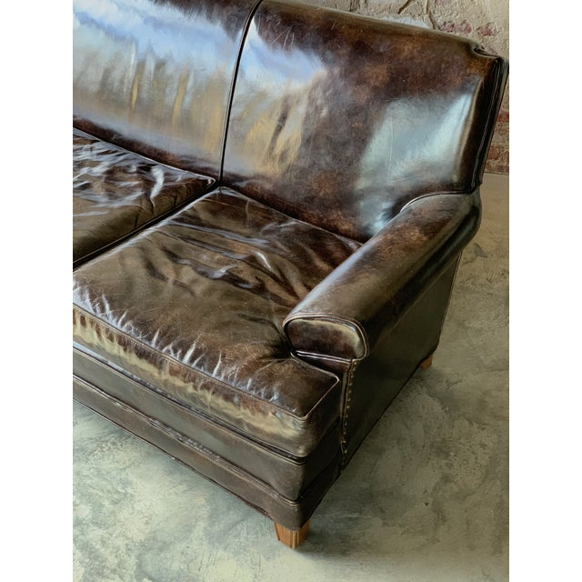 Traditional Patent Leather Sofa For Sale - Image 3 of 8