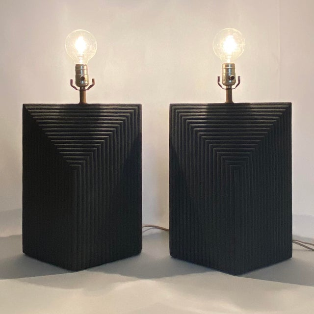 1980s Grey Postmodern Stepped Ceramic Lamp Pair For Sale - Image 12 of 13