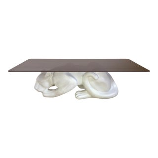 1970s Italian Plaster White Panther Coffee Table Smoked Glass Top For Sale