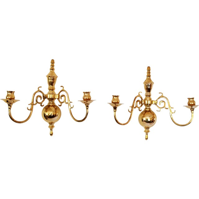 Vintage Solid Brass Candle Wall Sconces - Pair - Image 1 of 5