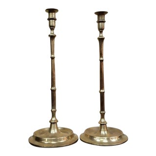 Pair of Early 20th Century Solid Brass Candlesticks C.1900 For Sale