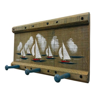 Vintage Nautical Style Hanging Rack For Sale