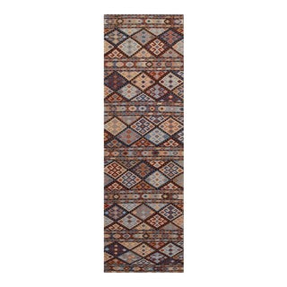 Hand Knotted Geometric Runner Rug - 2' X 8' For Sale