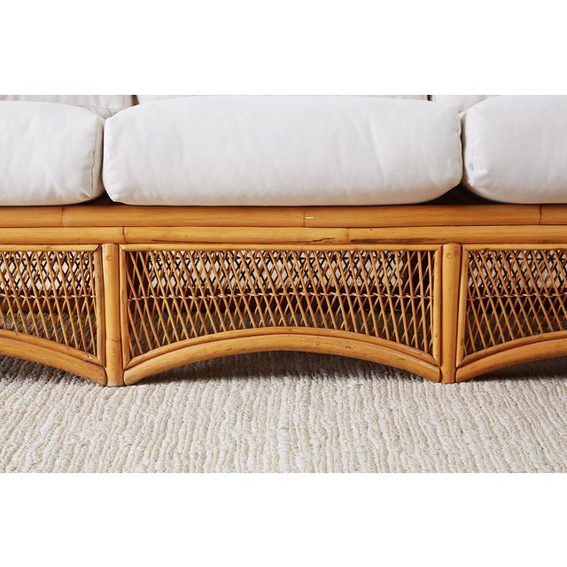 Midcentury Bamboo Rattan Wicker Three-Seat Sofa For Sale In San Francisco - Image 6 of 13