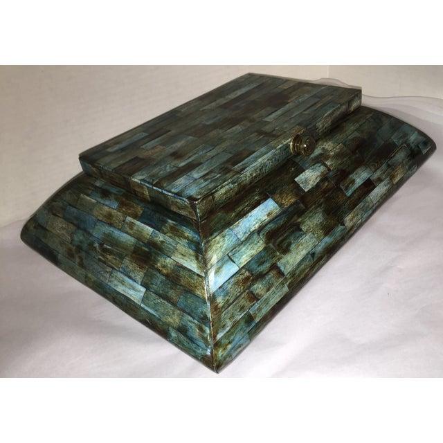 Rare Mid-Century Large Aqua Blue Tessellated Wood Box - Image 6 of 9