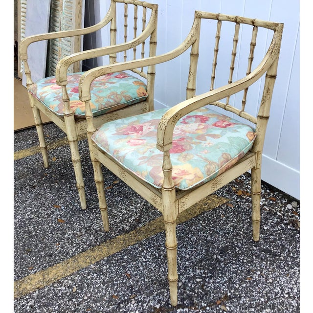 Chippendale Faux Bamboo Chippendale Style Armchairs - a Pair For Sale - Image 3 of 13