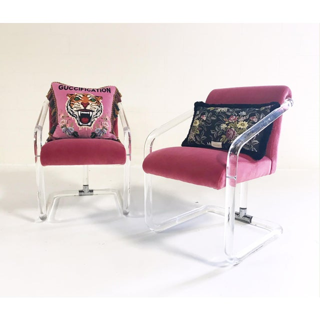 Vintage Lion in Frost Lucite Chairs Restored in Loro Piana Pink Velvet With Gucci Pillows - Pair For Sale - Image 11 of 11