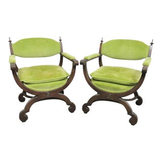 Hollywood Regency Green Upholstered Walnut X Base Chairs - a Pair For Sale