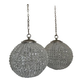 Contemporary Large Glass Beaded Globe Pendant Lighting - a Pair For Sale