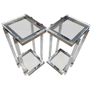Lucite and Polished Nickel Pedestals/Tables by Charles Hollis Jones For Sale