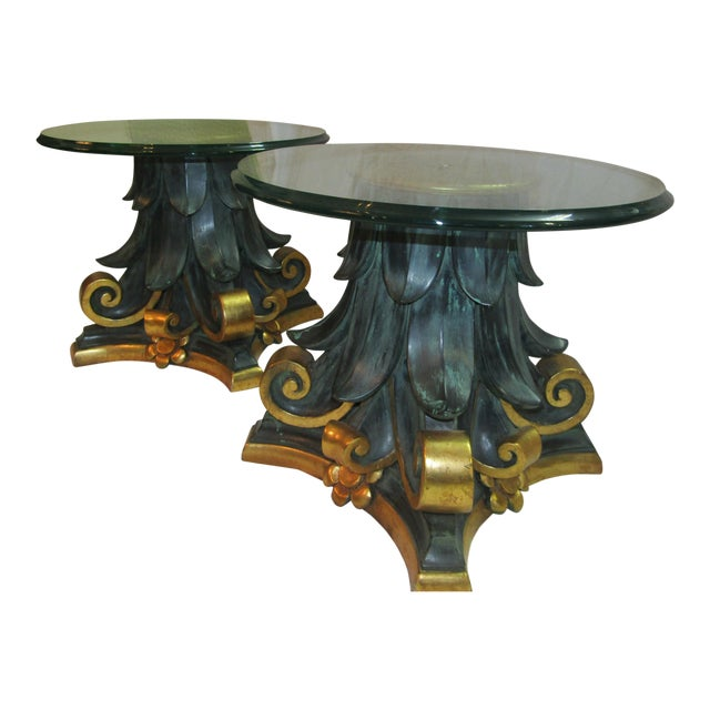 Green & Gold Wood Columns Accent Tables - A Pair - Image 1 of 4