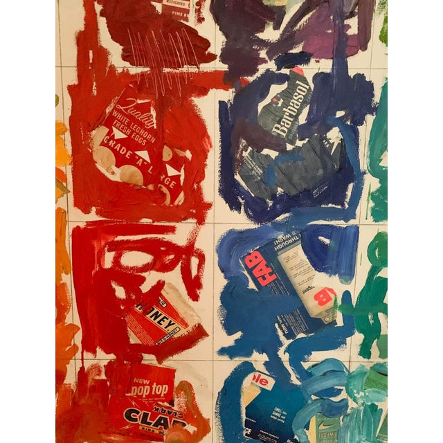This large mid century painting is a historical collage of vintage every day product labels composed on a ground of square...