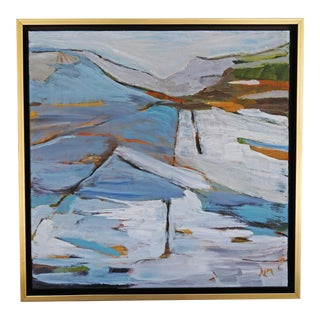 """Land Lines"" Abstract Landscape Painting by Laurie MacMillan, Framed For Sale"
