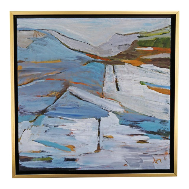 """""""Land Lines"""" Abstract Landscape Painting by Laurie MacMillan, Framed For Sale"""