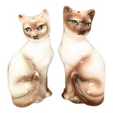 Image of Vintage Siamese Cats Salt Pepper Shaker Set - a Pair For Sale