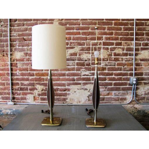 Laurel Lamp Company Laurel Brass & Wooden Inlay Table Lamps - A Pair For Sale - Image 4 of 7