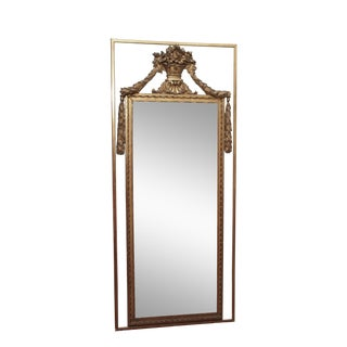 Tall, Early 19c Louis XVI Style Mirror with an Urn and Garland Ropes For Sale