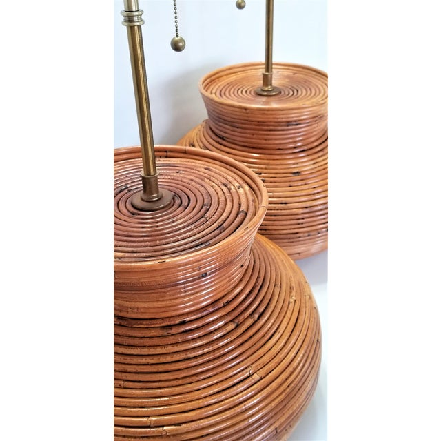 1960s Gabriella Crespi Style Large Pencil Reed Table Lamps - a Pair - Restored - Mid Century Modern Palm Beach Boho Chic Wicker Rattan Seagrass For Sale - Image 5 of 13