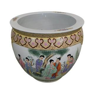 Enamelled Porcelain Satsuma Style Large Fishbowl Garden Pot/Planter For Sale