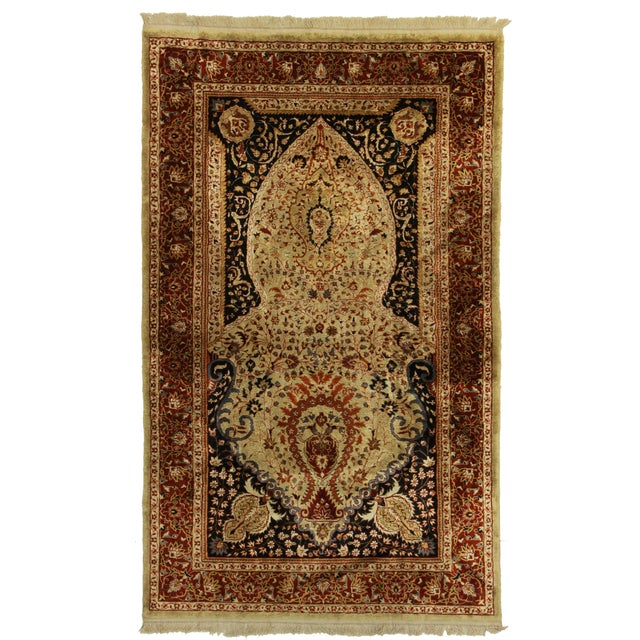 Hand Knotted Silk Turkish Rug - 3′1″ × 5′1″ For Sale