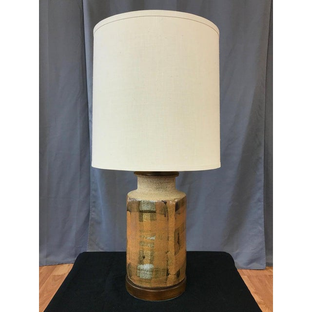 Signed Brent Bennett Glazed Stoneware and Walnut Table Lamp, 1960s For Sale - Image 12 of 13