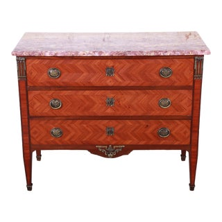 Antique French Louis XV Style Inlaid Parquetry Mahogany Marble Top Chest of Drawers For Sale