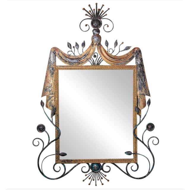 1940s Gilbert Poillerat Style Parcel-Gilt Wrought Iron Mirror For Sale - Image 5 of 5