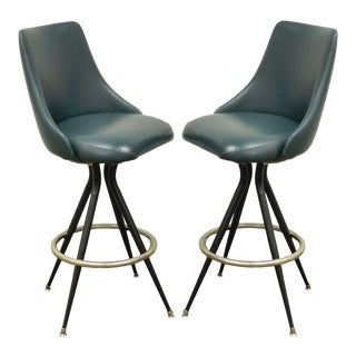 Pair of Mts Retro Mid Century Modern Style Chrome Vinyl Swivel Barstools Chair B