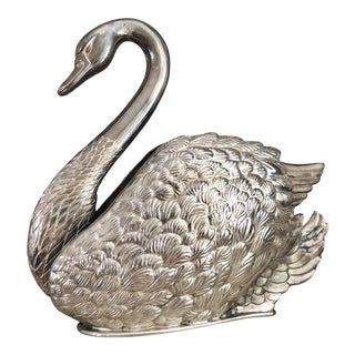 1980s Italian Silver Plate Swan by Godinger For Sale