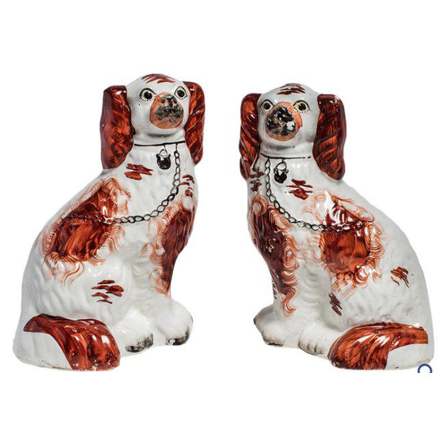 English Traditional Staffordshire Ruby Dog Figurines - a Pair For Sale - Image 3 of 4