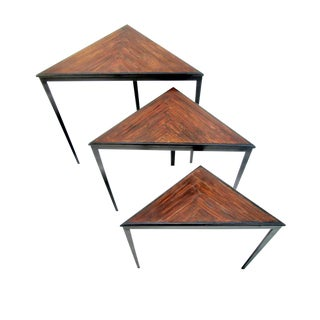 Mid Century Triangular Iron and Wood Nesting Tables - Set of 3 For Sale