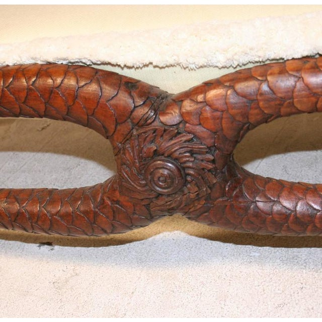 Fantastic 19th Century Serpent Carved Walnut Daybed or Bench - Image 6 of 7