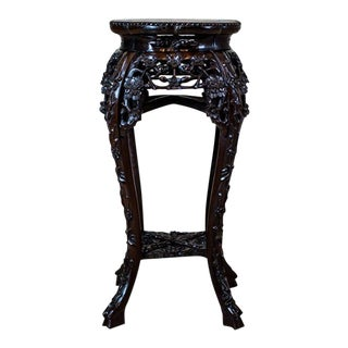 20th-Century Oriental Marble Top Side Table For Sale