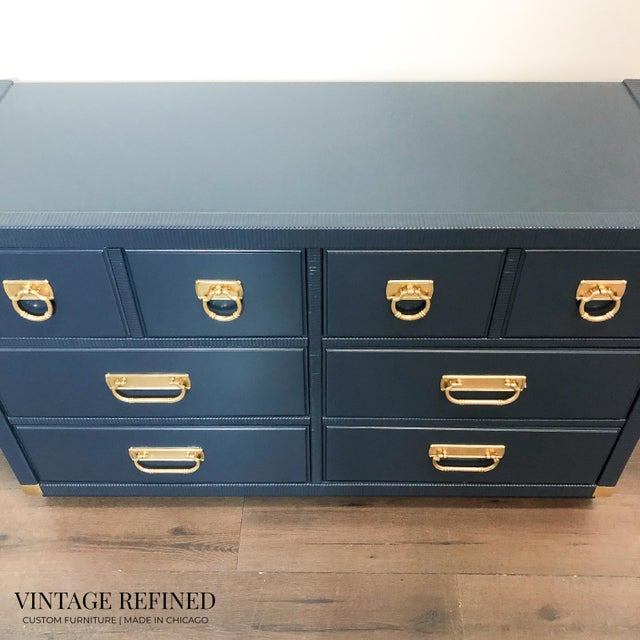 Drexel 1960s English Traditional Navy Lacquer Drexel Dresser For Sale - Image 4 of 7