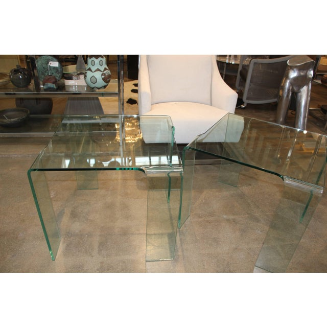 1980s Italian Glass Tables Attributed to Fiam - a Pair For Sale In Palm Springs - Image 6 of 7