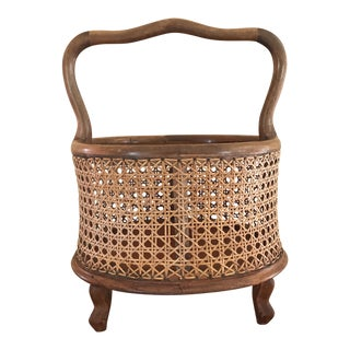1960s Vintage Italian Woven Cane Maple Planter Box For Sale