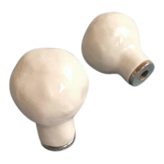 Contemporary Scandinavian Handmade Ceramic Ball Finials - A Pair For Sale