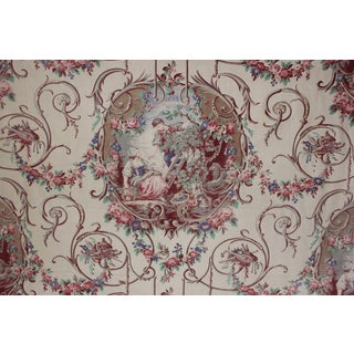 French Toile Fabric Romantic Scenes 39x101 Rococo Design 39x101 Inches For Sale