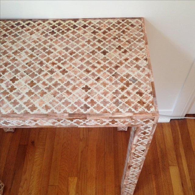 HD Buttercup Shell Inlay Trellis Console - Image 6 of 11