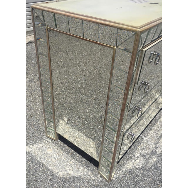 Mirrored Hollywood Regency Style Large Nightstand For Sale - Image 4 of 9